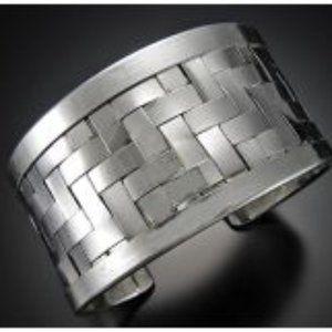 Herringbone Silver Plate Cuff Bracelet